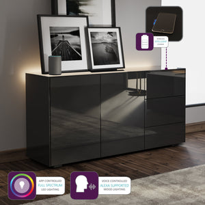 Frank Olsen Intel Range Gloss Black Sideboard With LED Lighting and Wireless Phone Charging