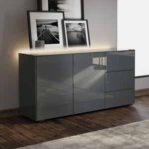 Frank Olsen Intel Range Gloss Grey Sideboard With LED Lighting and Wireless Phone Charging