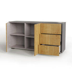Frank Olsen Intel Range Gloss Grey and Oak Sideboard With LED Lighting and Wireless Phone Charging