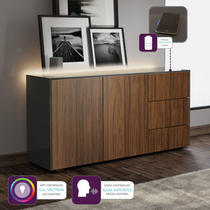 Frank Olsen Intel Range Gloss Grey and Walnut Sideboard With LED Lighting and Wireless Phone Charging