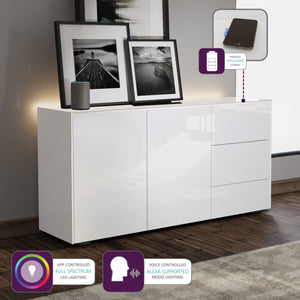Frank Olsen Intel Range Gloss White Sideboard With LED Lighting and Wireless Phone Charging