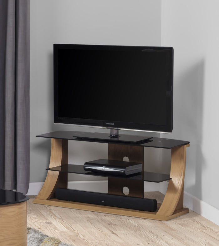 Jual Florence Curved Oak TV Stand with Black Glass (JF201 Oak 1100)