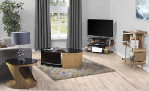 Jual Florence Curved Oak TV Stand with Black Glass (JF203 850 Oak)