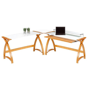 Jual Curve PC201 Corner Desk Package in Oak and White Glass