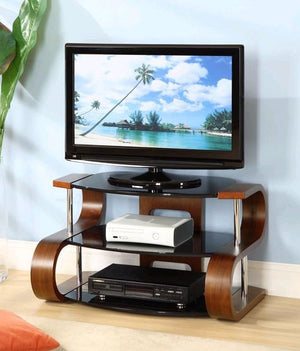 Jual Florence Curved Walnut TV Stand with Black Glass (JF203 WB 850)
