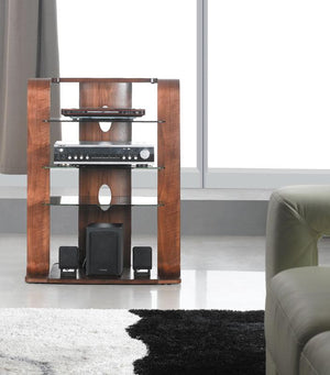 Jual Florence Curved Walnut Hifi Rack with Black Glass (JF204 WB)