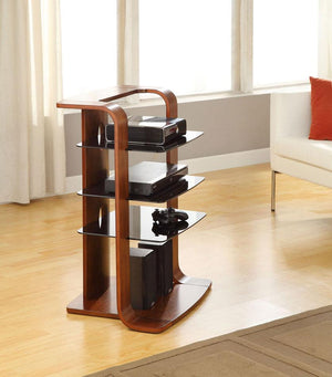 Jual Florence Curved Walnut AV Stand with Black Glass (JF204 WB)