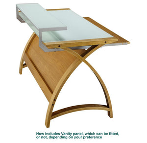 Jual Helsinki Curved 900mm Wide Computer Desk in Oak with White Glass (PC201-900-OW)