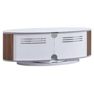 MDA Designs Luna Walnut and White Oval TV Cabinet