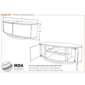 MDA Designs Luna Oak and White Oval TV Cabinet