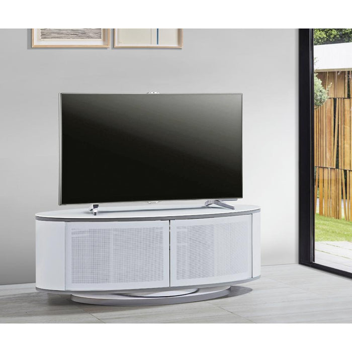 MDA Designs Luna High Gloss White Oval TV Cabinet