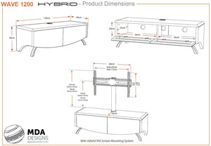 MDA Wave 1200 Hybrid White TV Stand For Up To 60""
