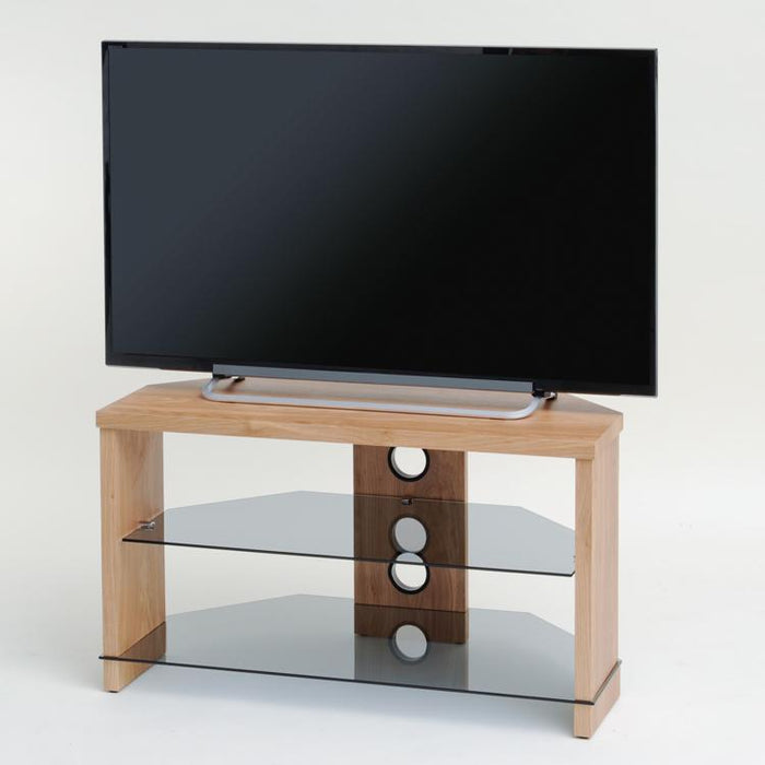 TTAP Montreal TV Stand in Oak and Clear Glass (TVS1003)