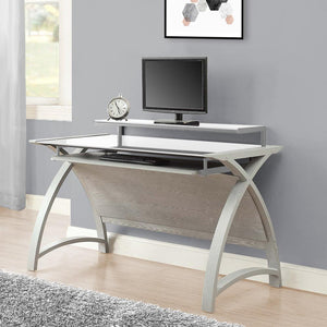 Jual Helsinki Curved 1300mm Wide Computer Desk in Grey Ash and White Glass (PC201 DESK GW 1300)