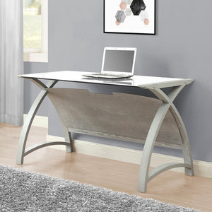 Jual Helsinki Curved 1300mm Laptop Desk in Grey Ash and White Glass (PC201 TABLE GW 1300)