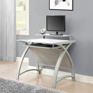 Jual Helsinki Curved 900mm Wide Computer Desk in Grey Ash with White Glass (PC201 DESK GW 900)