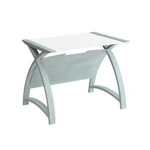 Jual Helsinki 900mm Curved Laptop Table in Grey with White Glass (PC201 TABLE GW 900)
