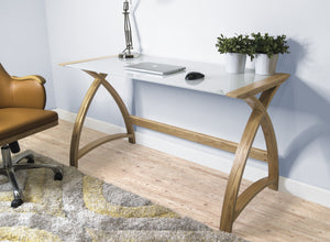 Jual Helsinki Curved 1300mm Wide Laptop Table in Oak and White Glass (PC201-1300-LT-OW)