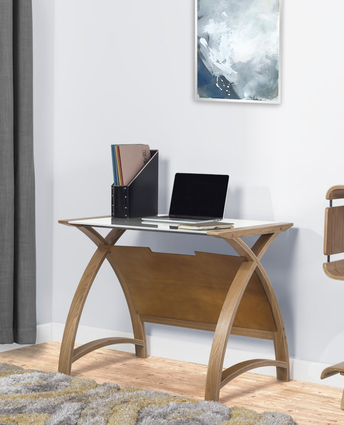 Jual Helsinki Curved 900mm Laptop Table in Oak and White Glass (PC201-900-LT-OW)