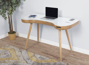 Jual San Francisco Smart Desk With Speakers And Wireless Charging in Oak and White Glass (PC711)
