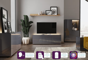 Frank Olsen High Gloss Grey 1100mm TV Cabinet with LED Lighting Wireless Phone Charging