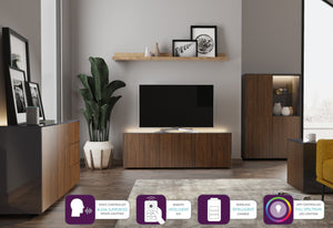 Frank Olsen Intel Range Gloss Grey and Walnut Display Cabinet With LED Lighting and Wireless Phone Charging