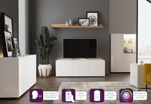 Frank Olsen High Gloss White 1500mm TV Cabinet with LED Lighting and Wireless Phone Charging