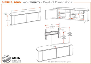 MDA Designs Sirius 1600 Hybrid Walnut TV Stand