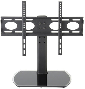 "TTAP PED64F Universal Black Glass Tabletop Pedestal TV Stand for up to 65"" TVs - Fixed"