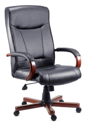 Teknik Kingston Black Leather Executive Chair with Dark Wood (8511HLW)