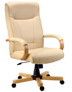Teknik Knightsbridge Cream Executive Leather Chair (8513HLW)