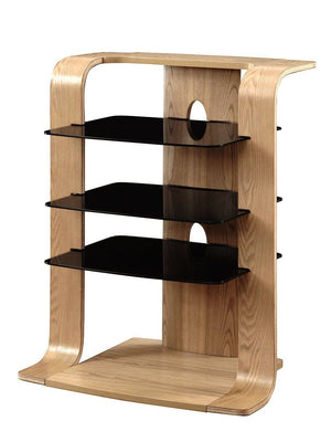 Jual Florence Curved Oak Hifi Rack with Black Glass (JF204 OB)