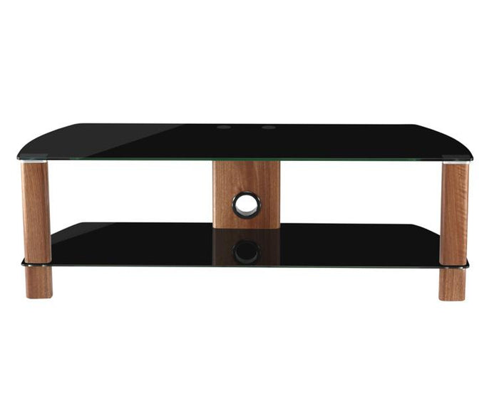 Alphason Century ADCE1200-BLK Walnut and Black Glass TV Stand