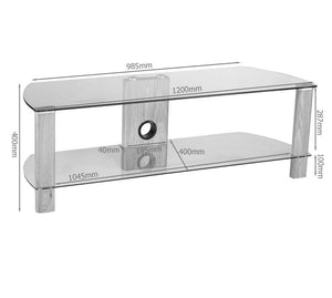 Alphason Century ADCE1200-LO Clear Glass TV Stand