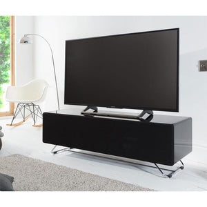 Alphason Chromium Concept 1200mm TV Stand in Black with Speaker Mesh Front (CRO2-1200CPT-BLK)