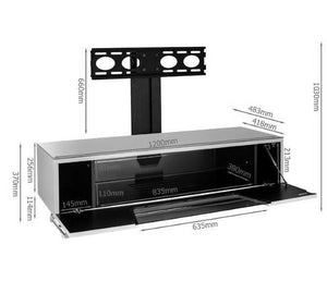 Alphason Chromium 1200mm TV Stand with Bracket in White (CRO2-1200BKT-WH)
