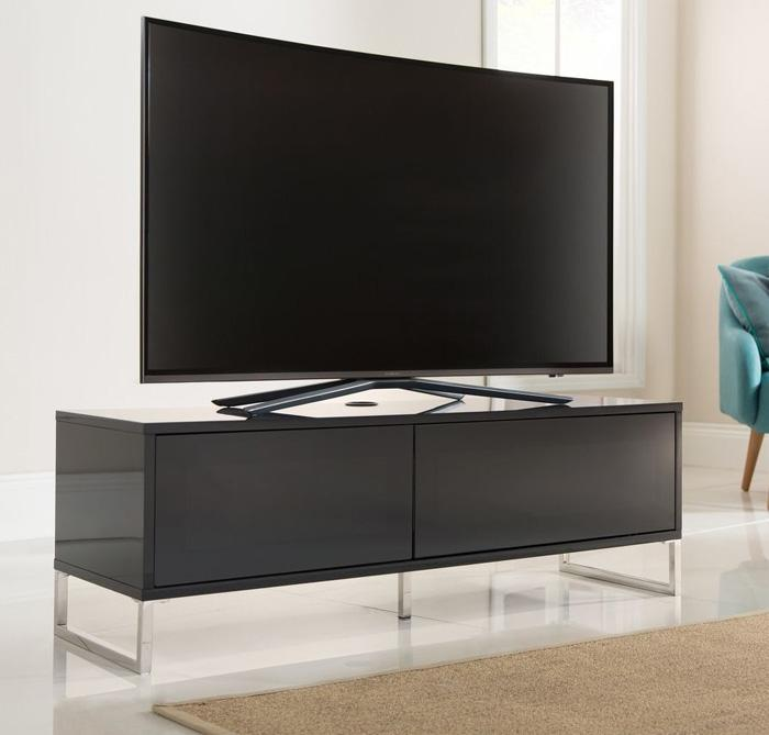 Alphason Helium 1200mm Black Wall Mountable / Free Standing TV Stand (ADHE1200-BLK)