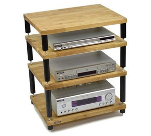 Apollo Storm 6 Solid Oak and Black 4 Shelf Modular Hi-Fi Rack