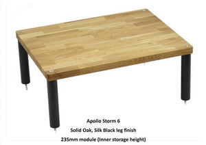 Apollo Storm 6 Solid Oak and Black 3 Shelf Hi-Fi Rack