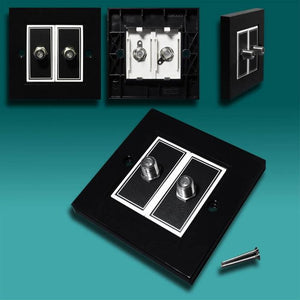 AV4EPTF-B - Black Plastic Twin Satellite Wall Plate
