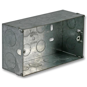 AV4-PL409864 Double Gang flush mounted steel back box for AV wallplate installations