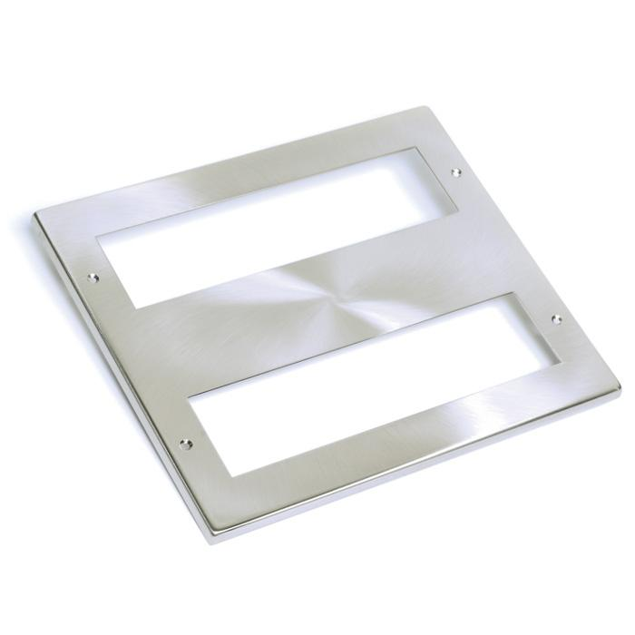 EP-WP0080 Satin Chrome 200mm Wide Aperture Faceplate with EP-WP9425 backbox and 2 x yolk EP-WP9010