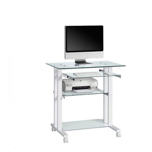 Maja Putney Computer Trolley in White and Clear Glass (1650 9799)