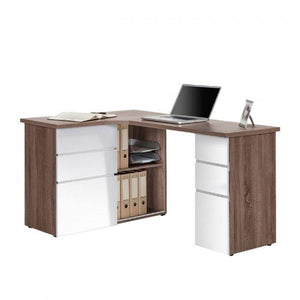 Maja Oxford Corner Desk in Truffle Oak and High Gloss White (9543 8056)