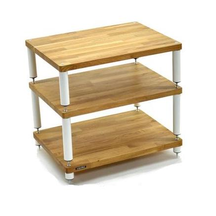 Apollo Storm 6 Solid Oak and White 3 Shelf Hi-Fi Rack