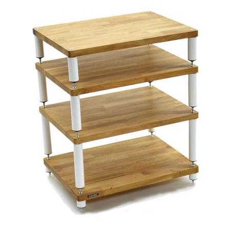 Apollo Storm 6 Solid Oak and White 4 Shelf Modular Hi-Fi Rack