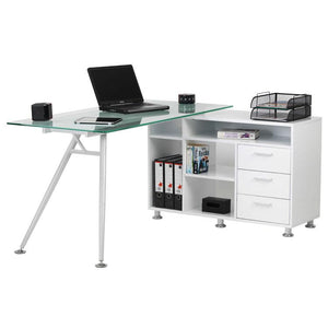 Alphason Augusta White Glass Corner Desk (AW13366A-CL)