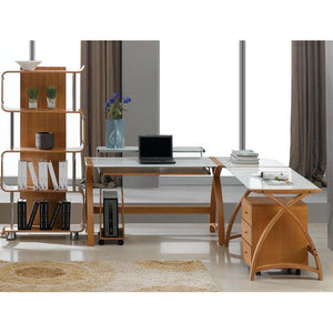 Jual Helsinki Curved 1300mm Computer Desk in Oak with White Glass (PC201-1300-OW)