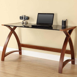 Jual Helsinki Curved 1300mm Laptop Desk in Walnut and Black Glass (PC201-1300-LT-WB)
