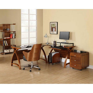 Jual Helsinki Curved 900mm Wide Computer Desk in Walnut and Black Glass (PC201-900-WB)
